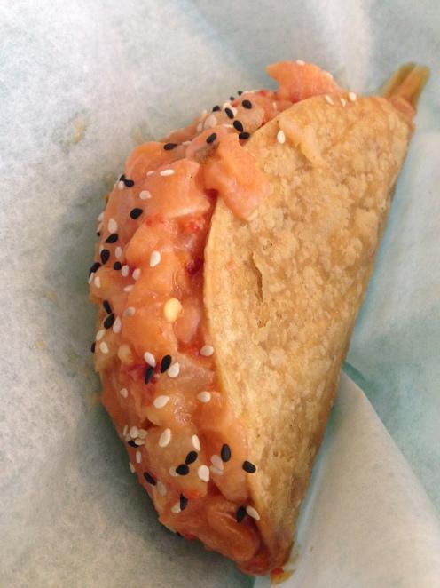 salmon poke taco