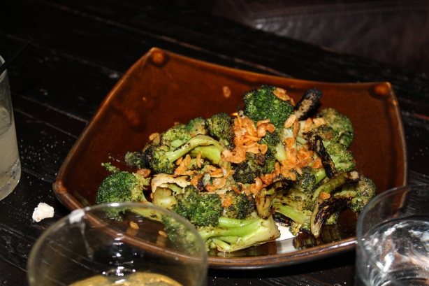 wood grilled broccoli, rogue smokey bleu, spiced crispies