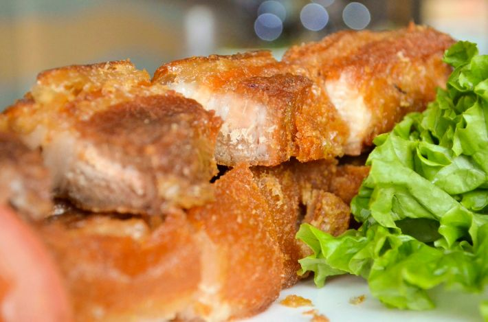 Lechon Kawali: Deep fried pork belly served with Filipino style gravyphoto credit: hide o.