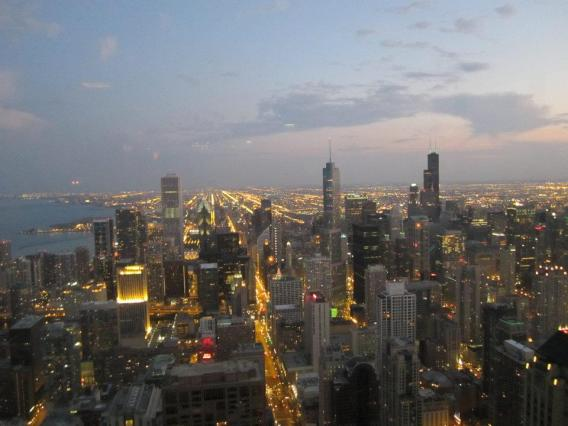 View from the John Hancock Tower at dusk