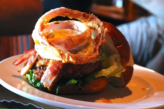 down range: bison burger, bbq, bacon, cheddar, onion ring, red leaf, fried egg